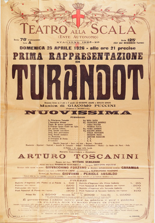 Locandina Teatro alla Scala: prima esecuzione di Turandot, 25 aprile 1926