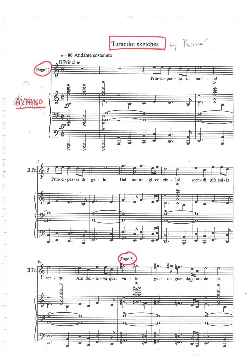 Trascrizione degli schizzi di Puccini con annotazioni manoscritte di Berio-lucianoberio.org-